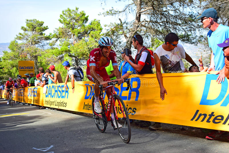 Alguacil Losada La Vuelta España Cycle Race. The Team katusha Alpecin rider near the mountain top finish in the 2017 La Vuelta espana bike race stock photo