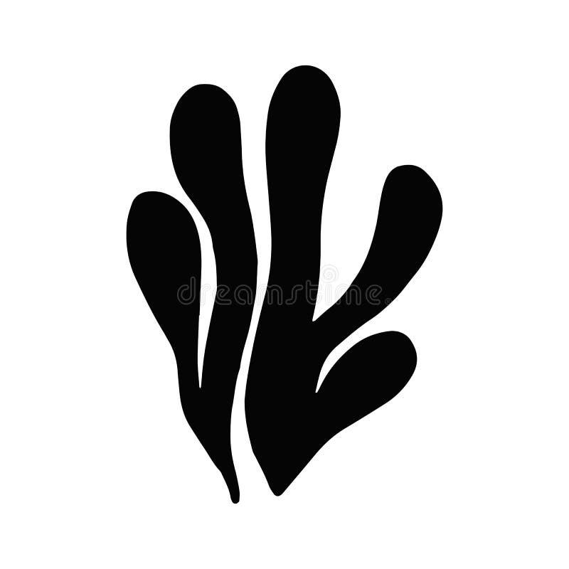 Algue en isolation usine de la Mer Noire de silhouette illustration libre de droits