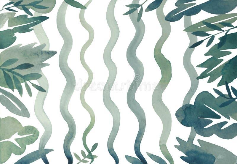 Algue et mauvaise herbe abstraite d'aquarelle, flore bleue et verte onduleuse sur le fond blanc photos libres de droits