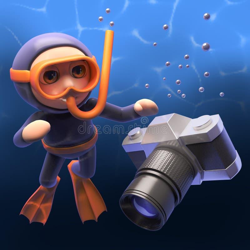 Alguien cae su cámara delante del buceador sumergido del tubo respirador, ejemplo 3d libre illustration