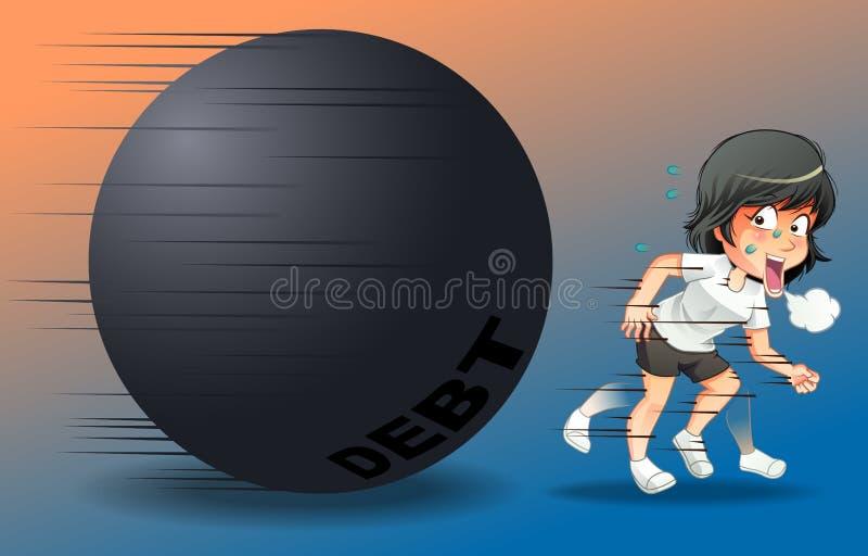 Alguien está corriendo para escapar la deuda stock de ilustración