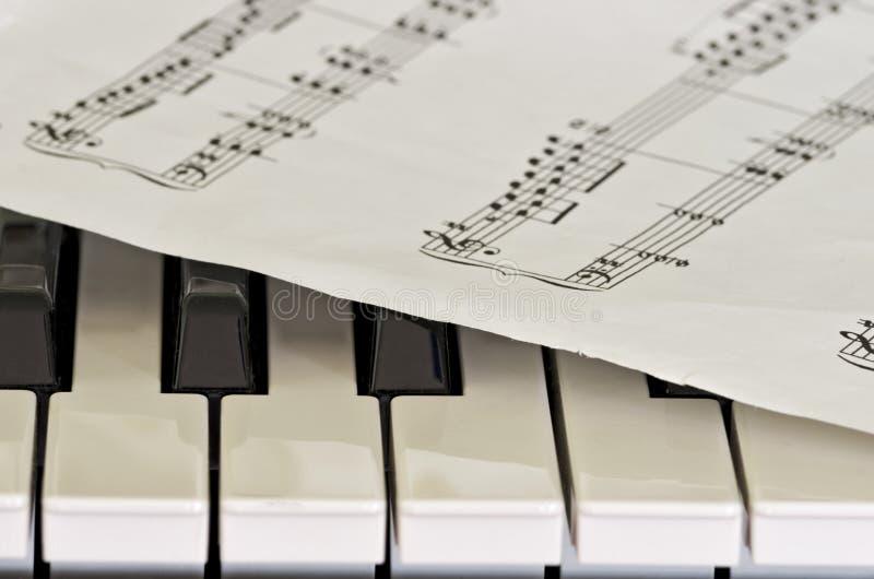 Algumas chaves do piano com folha de prova da partitura fotos de stock royalty free