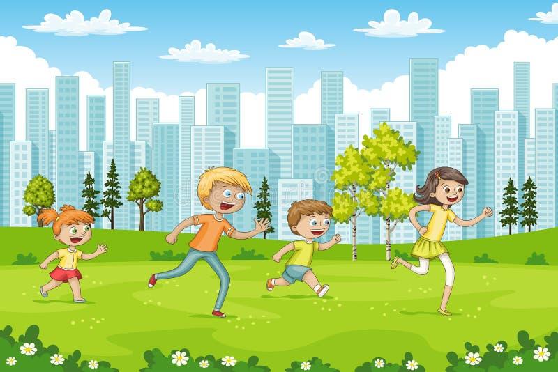 Algumas crianças estão correndo através de um parque ilustração do vetor