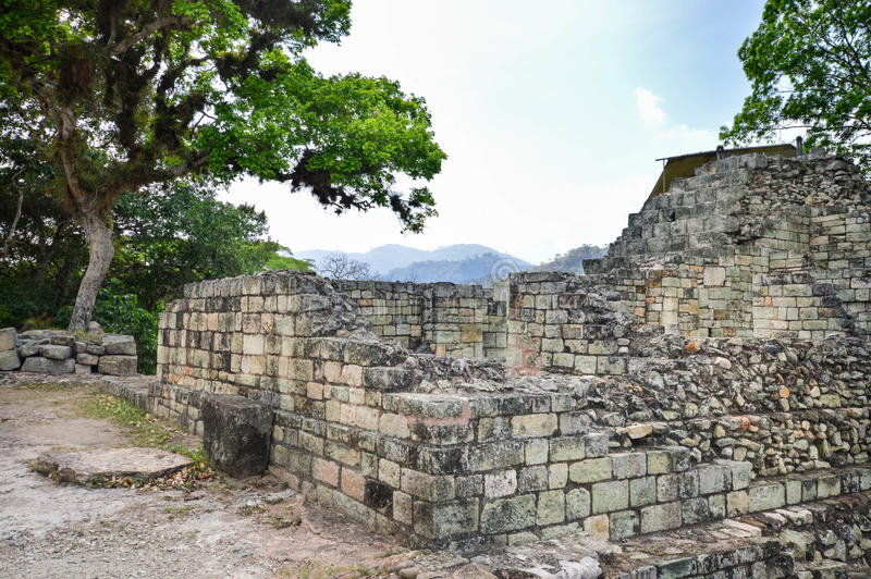Algumas das estruturas antigas no local arqueológico de Copan da civilização do Maya nas Honduras foto de stock