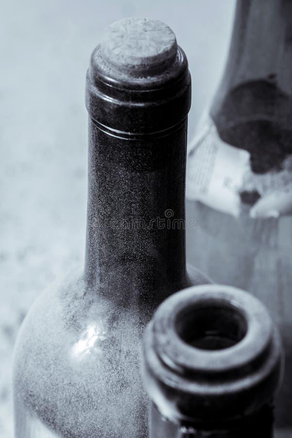 Algumas garrafas de vinho muito velhas imagem de stock