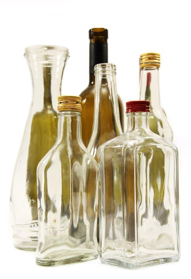 Garrafas para o vinho e os espírito. imagens de stock