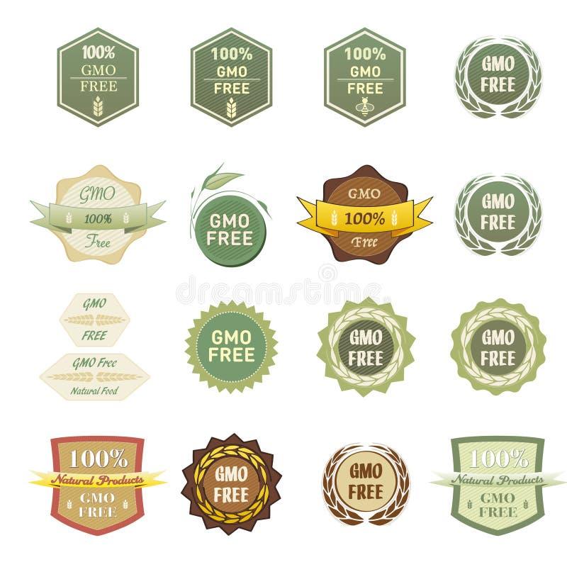Algunas diversas etiquetas OGM liberan stock de ilustración