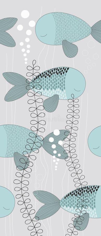 Algunos pescados en agua ilustración del vector