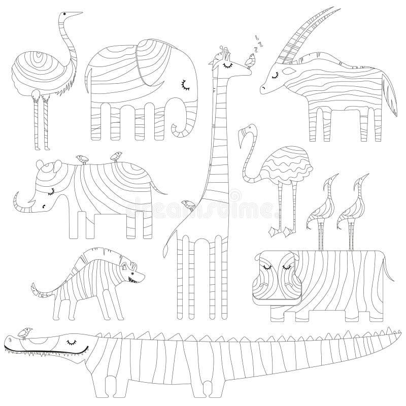 Alguns animais africanos na imagem para colorir ou zentangling ilustração royalty free