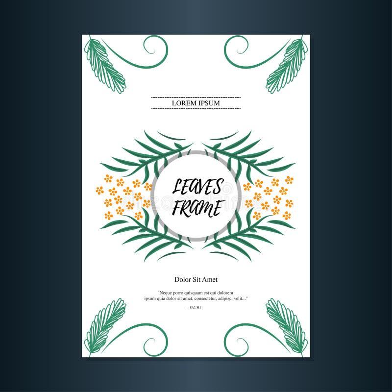 Alguns folhas esboçadas e molde moldado flor do cartão do fundo projetam ilustração stock