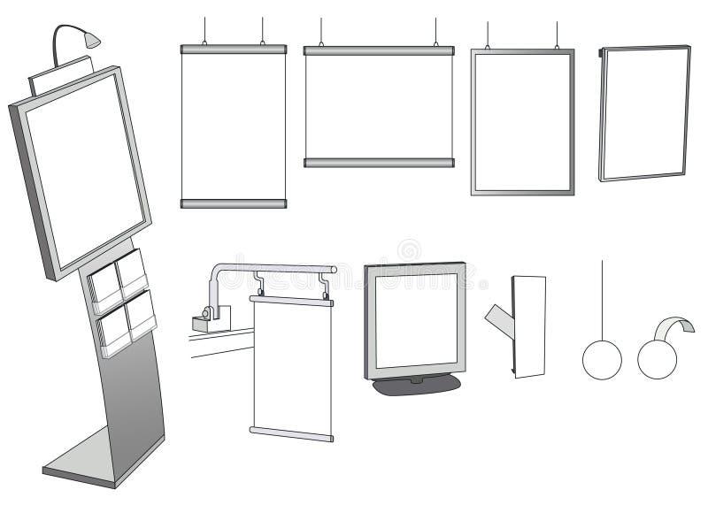 Alguns projetos de anúncio em um fundo branco ilustração royalty free