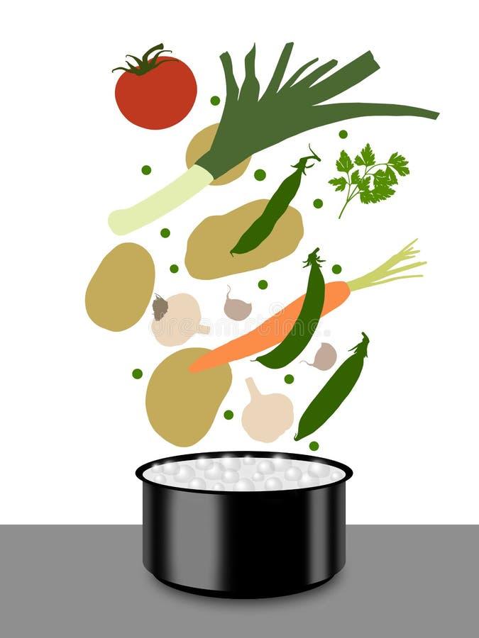 Download Cozimento Da Sopa De Vegetais Ilustração Stock - Ilustração de cozinha, água: 29835637