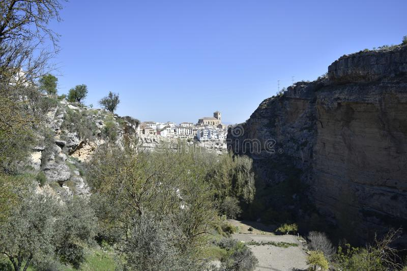 Alhama de Granada seen from the ravine royalty free stock photo