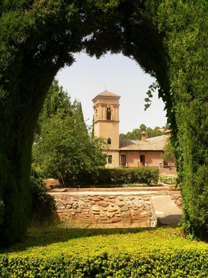 alhambra κήπος τόξων στοκ φωτογραφία