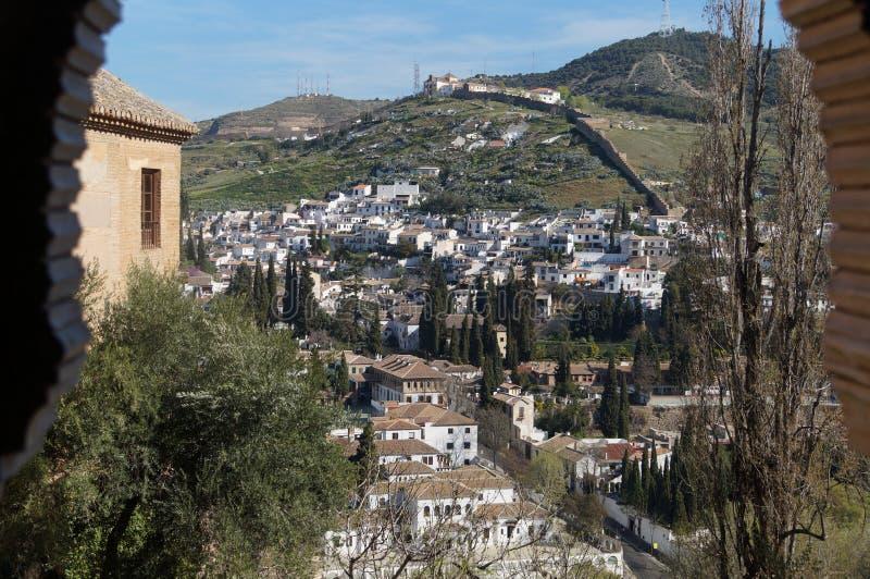 Alhambra Aussicht auf Grenada Spanien lizenzfreie stockfotos