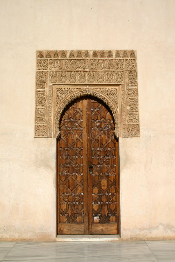 alhambra dörr royaltyfria foton