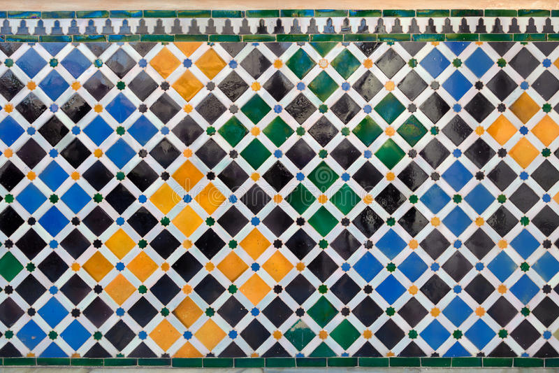 Alhambra de Granada. Ancient mosaic pattern royalty free stock photo