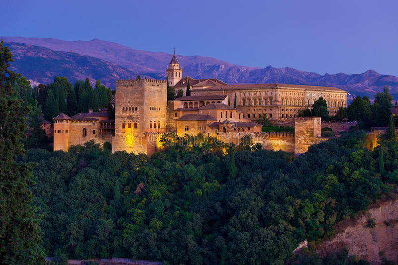 Download Alhambra De Granada Panoramic At Dusk Stock Image - Image: 23904475