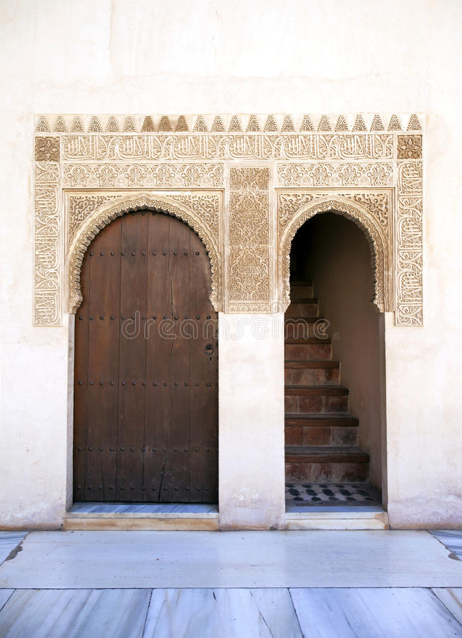 Download Alhambra door and stairs stock image. Image of ceramics - 22769803