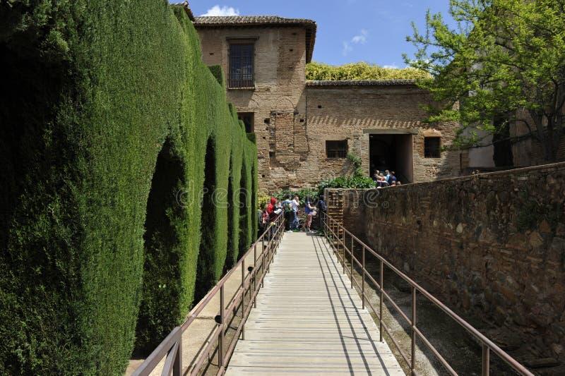 Alhambra, Eingang der Nasrid-Paläste, Granada, Spanien stockfotos
