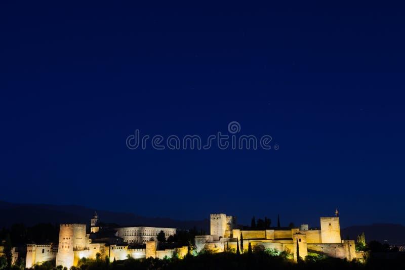 Alhambra em a noite fotografia de stock royalty free