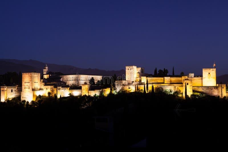 Alhambra em a noite imagem de stock royalty free