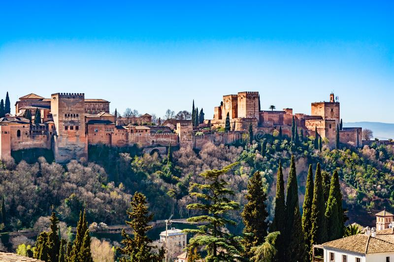 The Alhambra  fortress complex with the Nasrid Palaces and Generalife a UNESCO World Heritage Site in Granada, Andalusia, Spain. Granada, Andalusia, Spain: The stock image