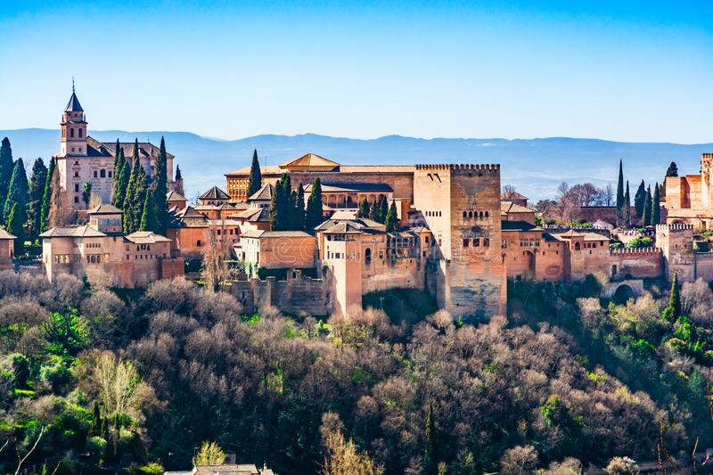 The Alhambra  fortress complex with the Nasrid Palaces and Generalife a UNESCO World Heritage Site in Granada, Andalusia, Spain. Granada, Andalusia, Spain: The royalty free stock photos