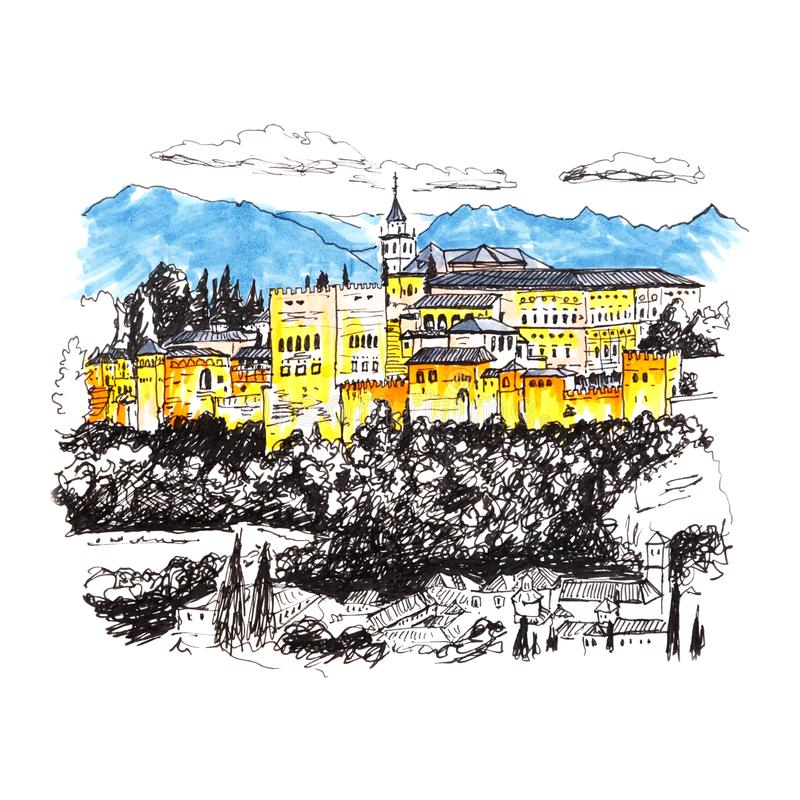 Alhambra fortress in Granada, Andalusia, Spain. Moorish palace and fortress complex Alhambra in Granada, Andalusia, Spain. Picture made liner and markers royalty free illustration