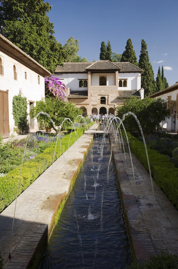 Download Alhambra - Garden With Fountain Stock Image - Image: 27646399