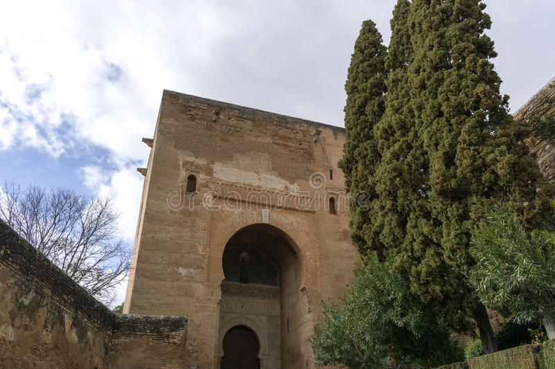 Alhambra gate of judgment. Main entrance to the palace stock image