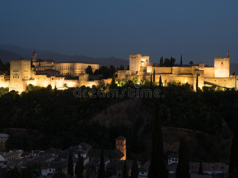 The Alhambra in Granada at night royalty free stock photography
