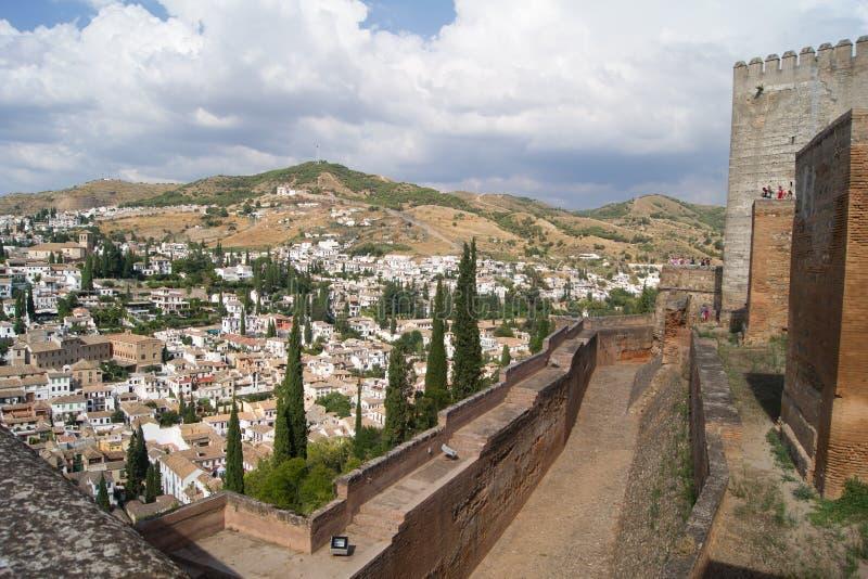 alhambra granada sikt arkivbild