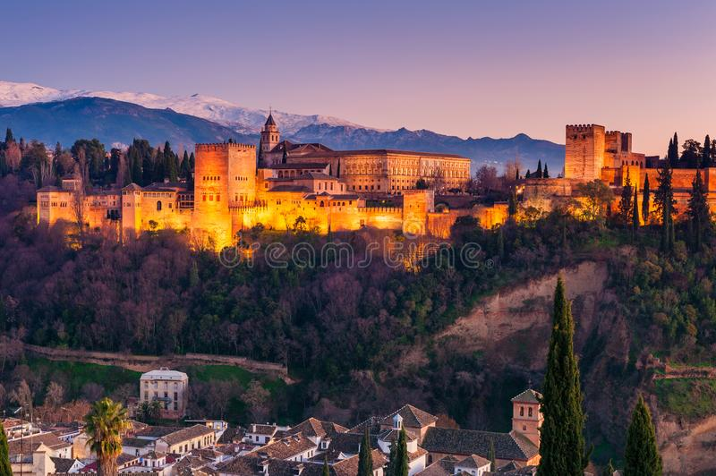 Alhambra Granada Spain no por do sol fotografia de stock