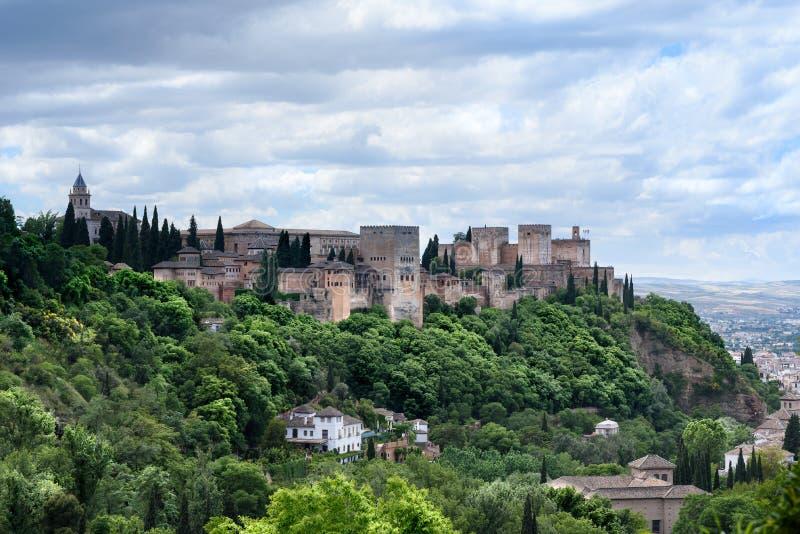 Alhambra Granada Spain O palácio histórico bonito, é o lugar o mais visitado na Espanha por turistas fotos de stock royalty free