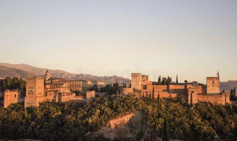 Alhambra Granada w zmierzchu zdjęcie stock