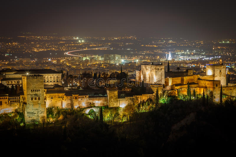 Alhambra la nuit photo libre de droits