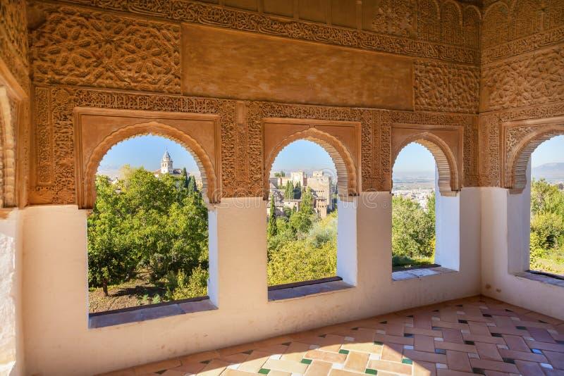 Alhambra Moorish Wall Designs City-Ansicht Granada Andalusien Spanien lizenzfreies stockbild