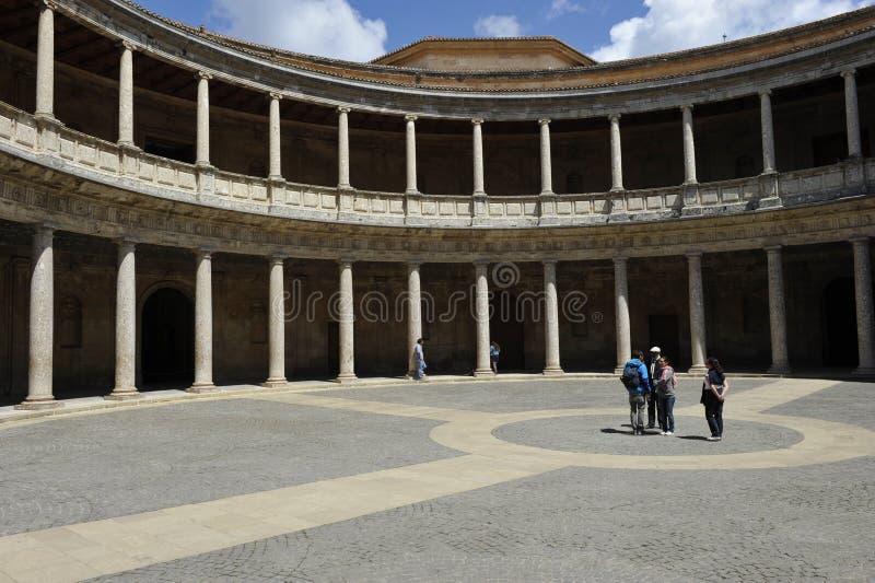Alhambra, palácio de Carlos V, Granada, Espanha imagem de stock