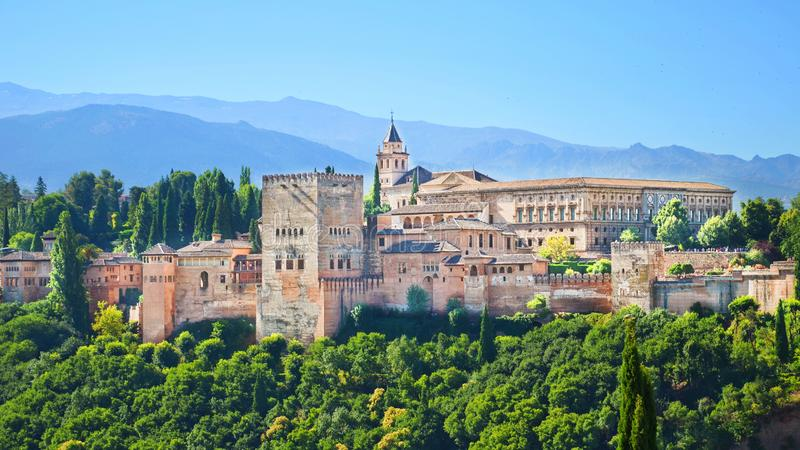 Alhambra Palace complex in Spaans Granada royalty-vrije stock foto