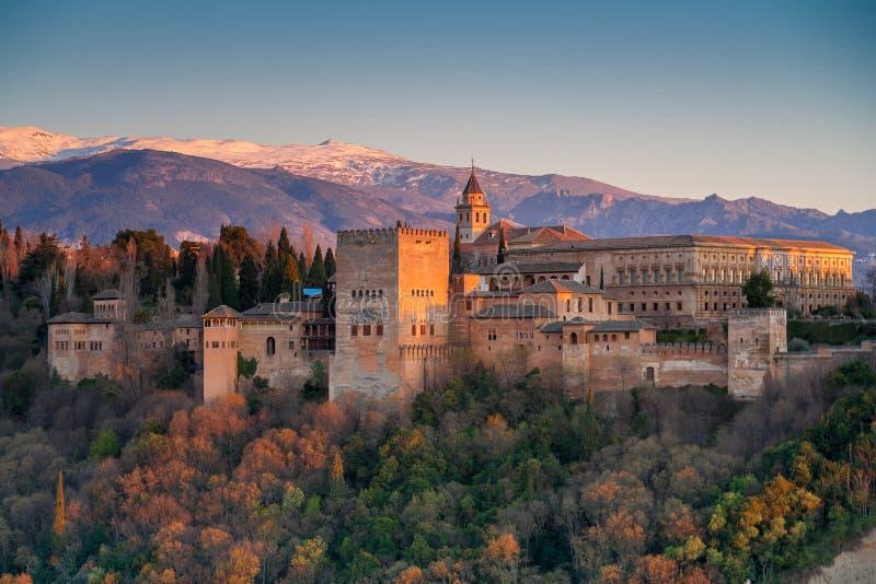 Alhambra palace, Granada, Spain. Alhambra at sunset, Granada, Spain royalty free stock photo