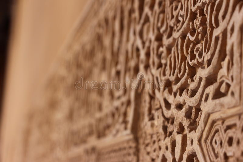 Alhambra Palace vägg royaltyfri fotografi