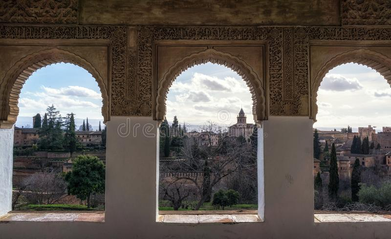 Alhambra palace view from generalife. Alhambra palace viewed from Generalife mansion windows. Granada, Spain stock photography