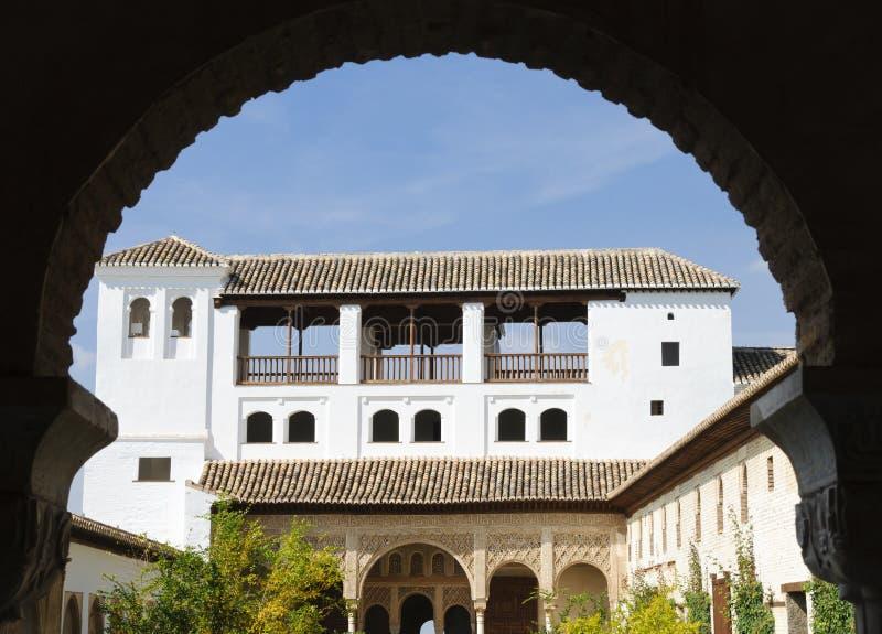Alhambra:Patio de la Acequia in the Generalife stock photo