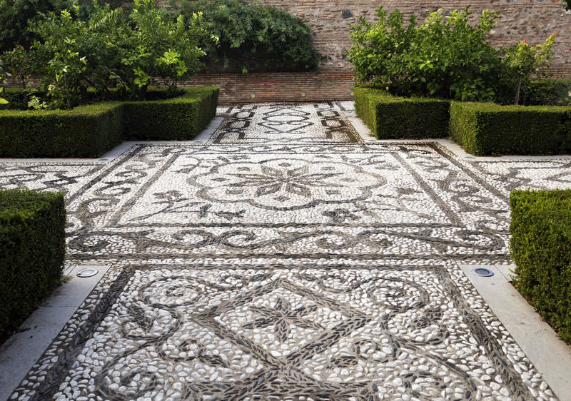 Alhambra Pebble Mosaic royalty free stock photography