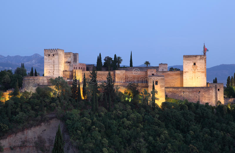 Alhambra przy półmrokiem. Granada, Hiszpania obrazy royalty free