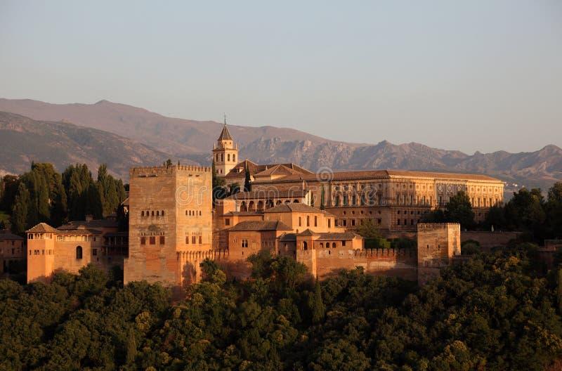 Alhambra przy zmierzchem. Hiszpania zdjęcia stock