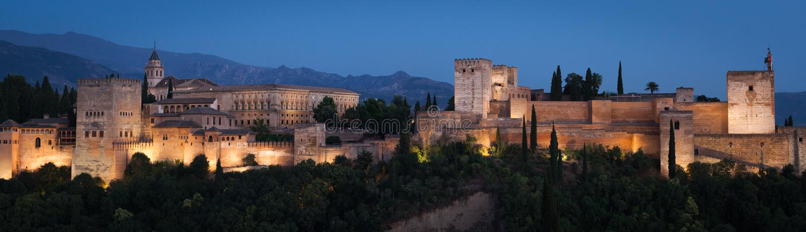 Alhambra in Spain`s Granada during the summer season stock photography