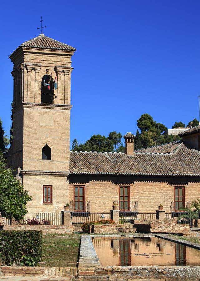 Alhambra Stone Building Reflection Granada Andalousie Espagne photos stock