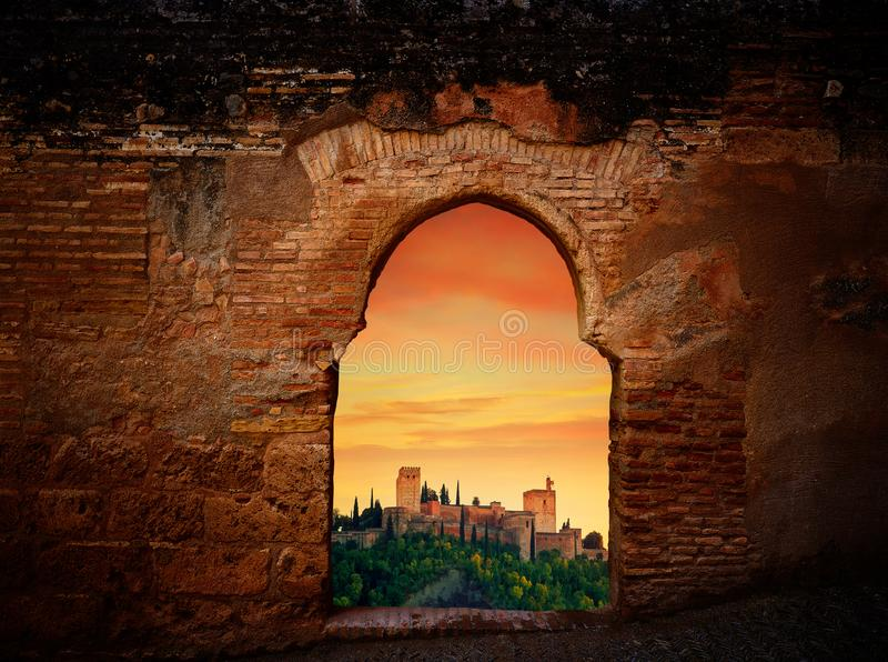 Alhambra sunset arch Granada illustration royalty free stock photography